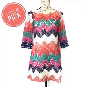 Boat neck chevron lace tunic crochet boho dress